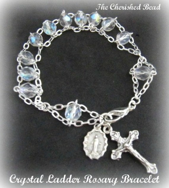 Beautiful Aurora Borealis Crystal Ladder Rosary Bracelet with Italian Crucifix and Miraculous Medal