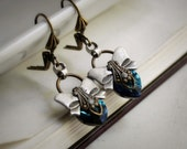 10% OFF SALE o Demi Aged Silver and Swarovski Earrings - Blue - Indigo - Aqua - Victorian - Shabby Chic - Heart - Love - Summer - Bridal