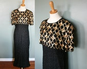 Vintage 80s Does 20s Black Beaded Silk Dress - Gold Sequins - Women Large
