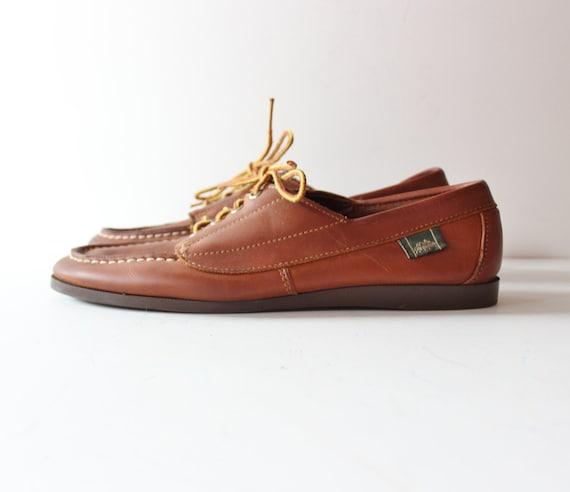 Vintage DOCK DAYS Colorado Boat Shoes - Brown Leather - Men 7M Women 8.5 9M