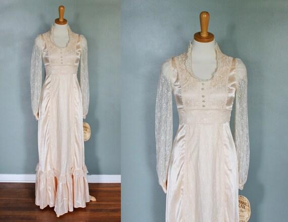 Vintage 70s Gunne Sax by Jessica Prairie Wedding Dress - Women S - Ivory Full Length - Hippie Bride - Deadstock NOS