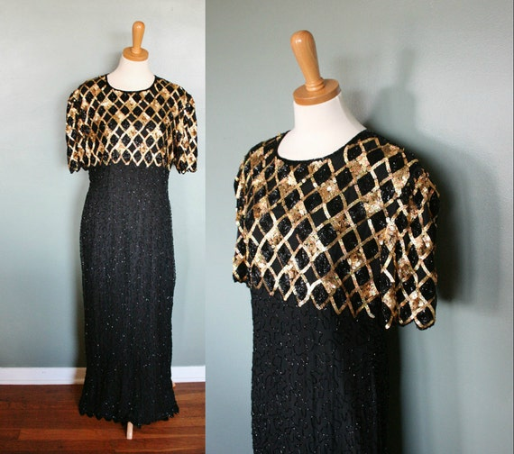 Vintage 80s Does 20s Black Beaded Silk Dress - Gold Sequins - Women Large