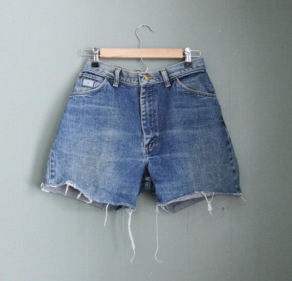 15 Dollar Sale Vintage DARK BLUE Denim Shorts - Cut Offs  - Women Medium