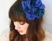Blue Flower Cluster Cocktail Hat