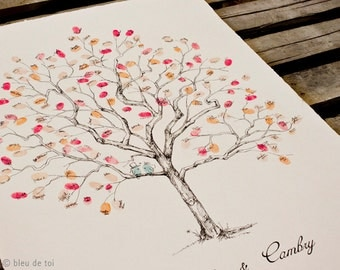 Wedding Guest Book Alternative, Fingerprint tree, Original Large Jacaranda Design, rustic wedding, custom guest book, alternative guestbook