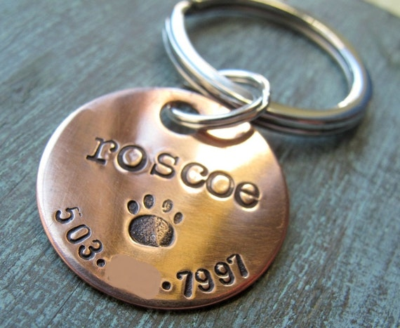 Custom Personalized Pet ID Tag, Pet Name, Hand Stamped, Copper
