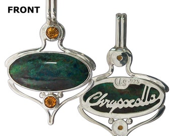 Chrysocolla, Citrine and Sterling Silver Pendant  pchrj2065