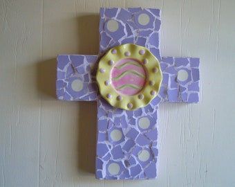 Mosaic Cross Handmade, unique, happy, sunny