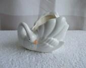 Omnibus Ceramic Swan,  White, Small , Stamped on bottom 1983