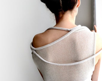 Off  Shoulder Sweater,Light beige transparent sweater, minimalist sweater