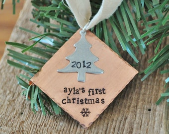 Personalized BABIES FIRST CHRISTMAS Ornament -Hand Stamped Diamond Christmas Tree Ornament - As Seen on Disney Baby