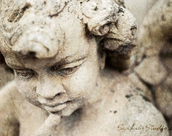 Sweet Hereafter : angel cherub statue stone carving sculpture cemetery photography romantic ethereal home decor 8x12 12x18 16x24 20x30 24x36