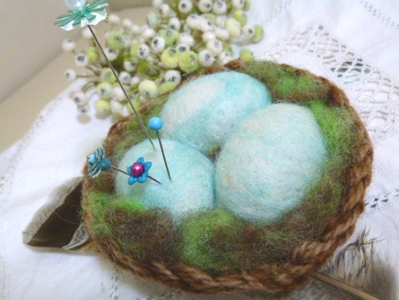 Birdnest with blue eggs, needlefelted wool pincushion or decoration
