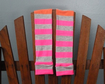 Baby Leggings for Your Little Pumpkin - Bright Orange, Pink and Gray Stripes