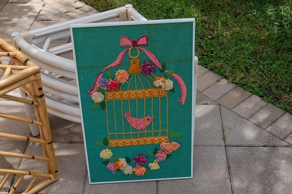 Reserved for BB...Anthropology Style Turquoise Burlap Yarn and Felt Birdhouse Art Prairie Style at Retro Daisy Girl