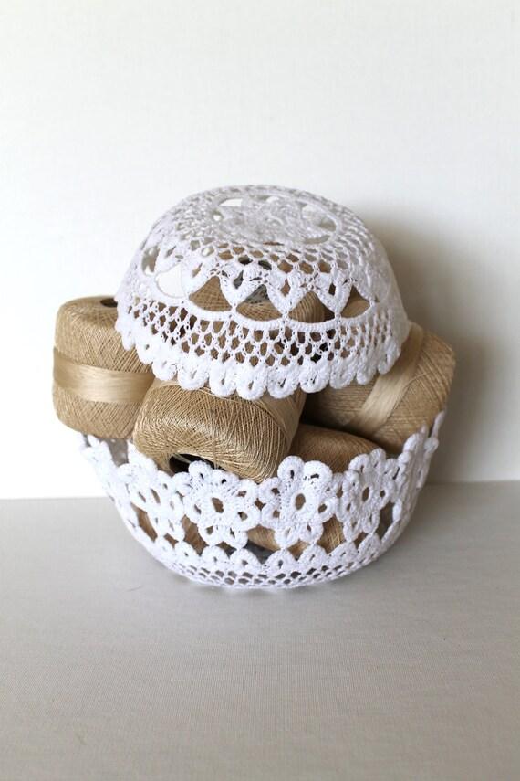 Ручной Вязаный Вложение Чаши White Lace салфетка скульптуры