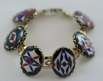 Vintage Large Link Oval hand Painted Disc Bracelet  .....2501