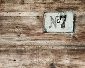 number plate, abstract photography, 8x12 architecture photo, reclaimed wood, brown, taupe, gray, rustic barn, minimal wall decor