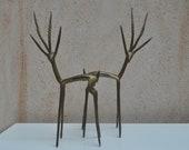 Vintage Pair Bronze Figurines - Antelope, Impala, Deer