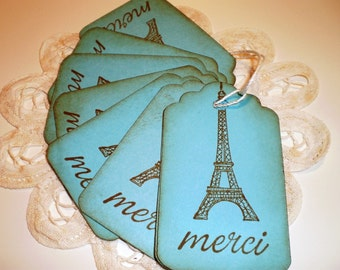Turquoise Merci Eiffel Tower Gift Tags, Party Favor Tags, Party Thank You Tags