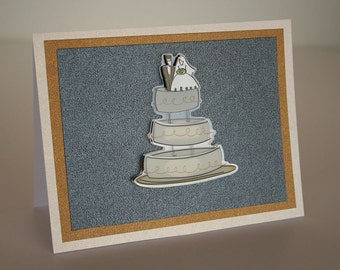 Wedding Card-  Wedding Cake with Bride and Groom