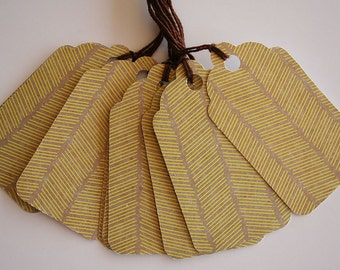 Yellow Striped Pattern Gift Tags (10)
