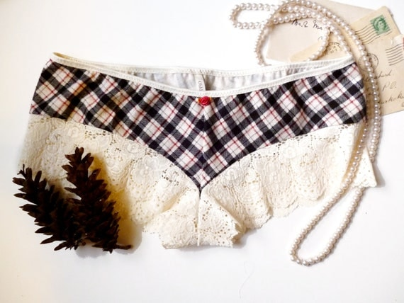 15% Spooktacular SALE  Last Pair Snow Day Plaid Flannel and Lace French Knickers Made to Order