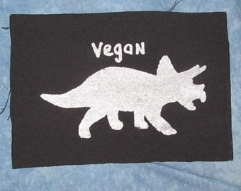Vegan Patch, Dinosaur Patch, Triceratops, Vegan Patch, Choose Color - Purple, Green, White - herbivore punk patches freegan lizard dino