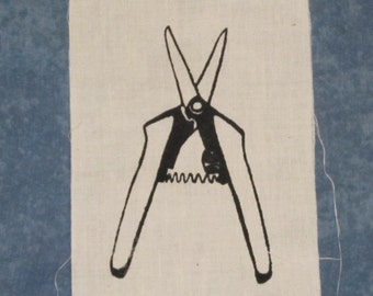 Patch - Scissors, Black on White - screenprint trim plant trimming tool trimmers spring punk patch hippie patches garden herb rewild nature