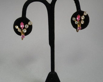 Vintage Rose Navette Rhinestone Earrings