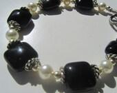 Bracelet, Black Onyx and Swarovski Pearl Beads Bracelet with Sterling SIlver