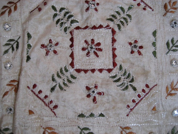 fabulous exotic embroidered and mirrored fabric piece