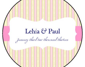 Pink Stripes Personalized Wedding Favor -4 oz Soy Wax Candle Jar