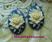 90-00-CA - 6 pcs (18 X 25mm) Pretty Oval Rose Cameo -Ivory on Royal Blue