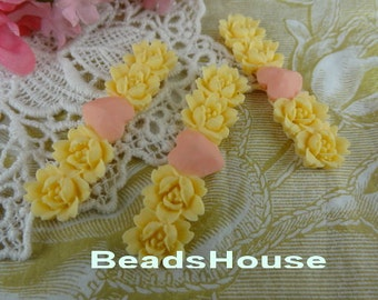 406-00-Ca  4pcs Beautiful Colorful Flower and Heart Cabochon-Ivory