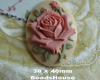 20%off 90-00-CM  2pcs (30 x 40mm) Pretty Rose Oval Cameo- Dusty Pink Rose
