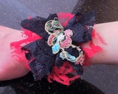 Wow, What a Statement Piece,  Flower Red and Black Lace Cuff