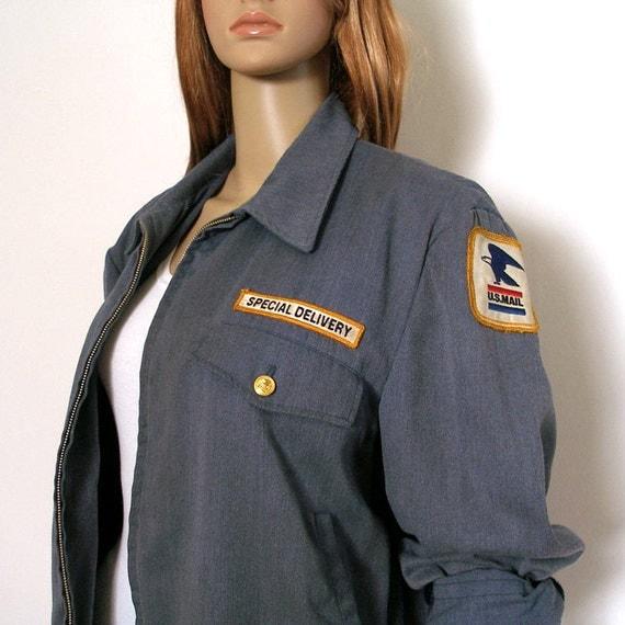 1970s 1980s Postman Jacket / 70s 80s Postal Delivery Uniform Jacket / Large