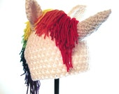 Rainbow Unicorn Hat Crocheted LGBT Hat Child's Hat Rainbow Brite Hat Crochet Handmade Cute Kawaii Hat Rave Hat
