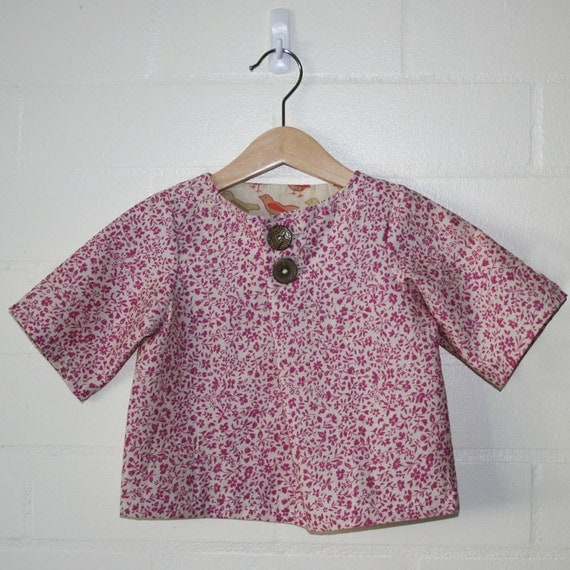 pink cotton folded top with 3/4 sleeves. japanese inspired. size 2T.