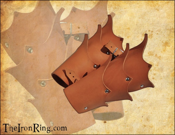 Elven bracers, veg tan leather, for Larp and fantasy enthusiasts.