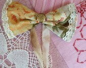 Bow Tie Vintage Fabric Yellow Flowers