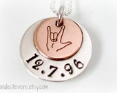 Personalized Date Love Necklace ASL I Love You Sign and Date Copper Sterling Silver