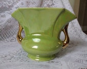 Vintage Pearl Lime Green Vase with 22 KT