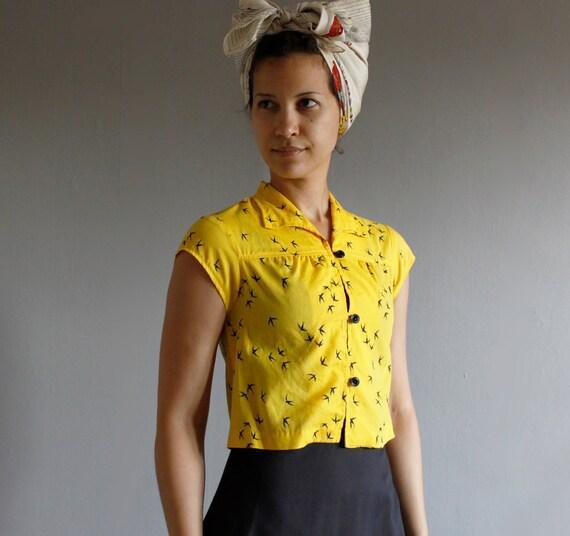 1970's bird blouse sun dress set ( xs )