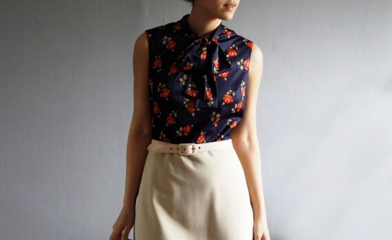 1970's navy rose day dress . secretary dress set (l)