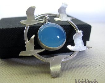 SALE - Sky Blue Bird Flight Handmade Sterling Silver & Chalcedony Pendant