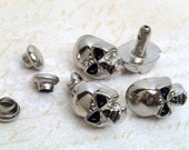 10 sets 12x7 mm (black eyes) Silver SKULL Rivet Rapid Stud for bag purse jacket jean craft project