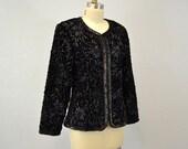 Evening jacket Velvet Black holiday party rocker rock and roll hipser sequins ribbons formal fancy IngridIceland