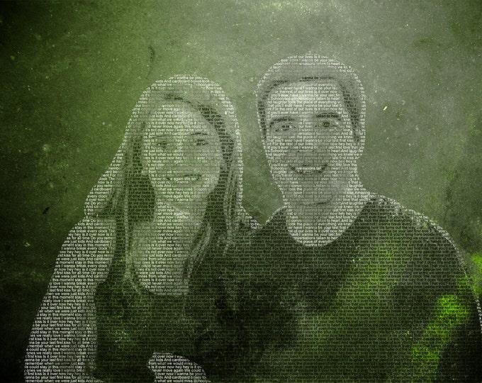 Custom Wedding & Anniversary Text Photo Canvas Gift 12x16